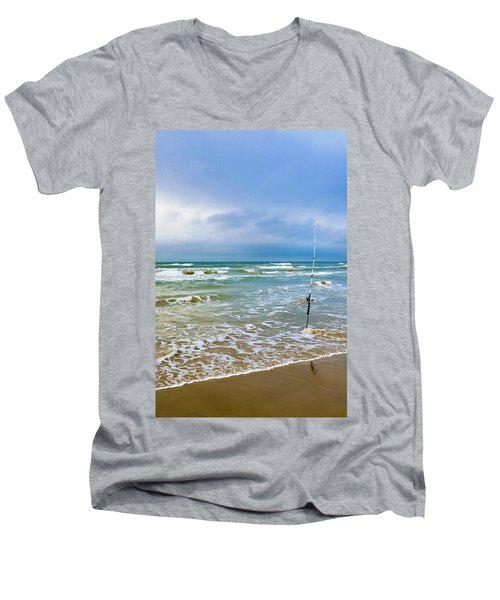 Lone Fishing Pole Men's V-Neck T-Shirt