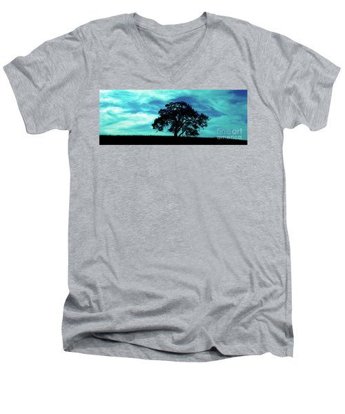 Men's V-Neck T-Shirt featuring the photograph Lone Oak by Jim and Emily Bush