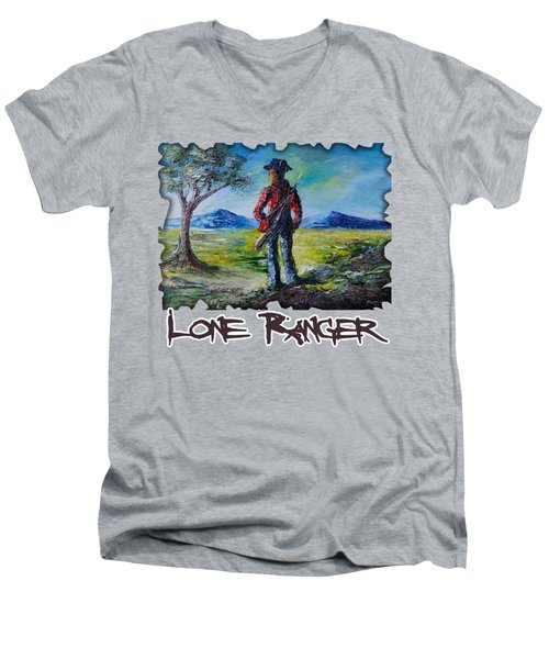 Lone Ranger On Foot Men's V-Neck T-Shirt