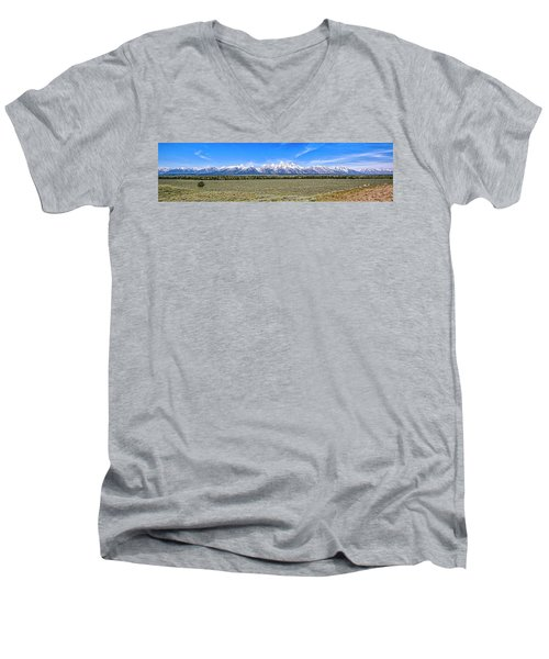 Lone Tree And The Tetons Men's V-Neck T-Shirt