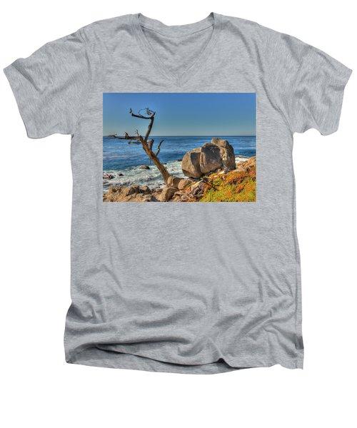 Lone Tree California Coast Men's V-Neck T-Shirt by James Hammond