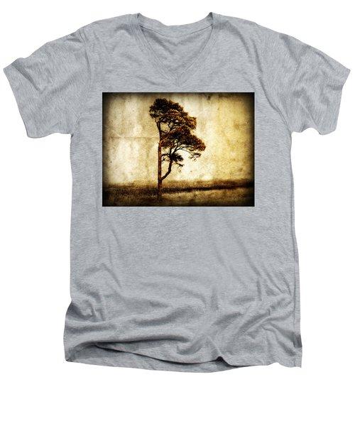 Lone Tree Men's V-Neck T-Shirt by Julie Hamilton
