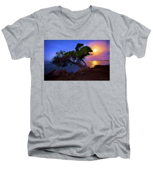Men's V-Neck T-Shirt featuring the photograph Lone Tree On Pacific Coast Highway At Moonset by John A Rodriguez