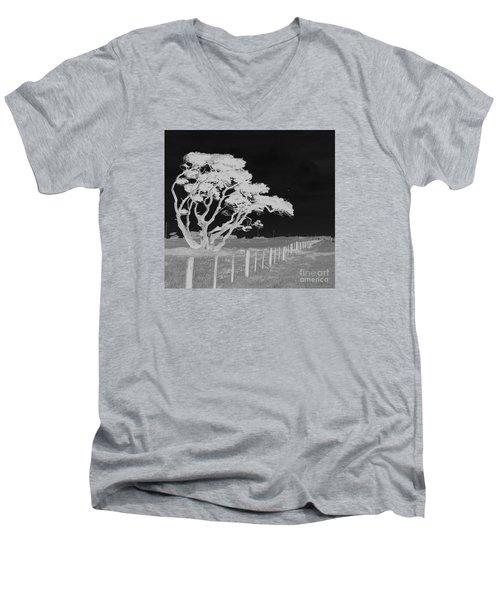 Lone Tree, West Coast Men's V-Neck T-Shirt by Nareeta Martin