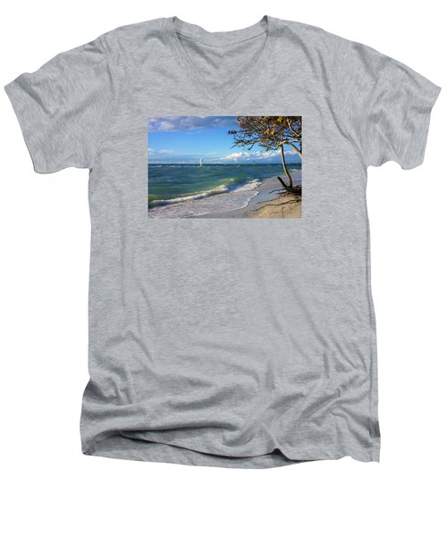 Men's V-Neck T-Shirt featuring the photograph Lone Windsurfer At Wiggins Pass by Robb Stan