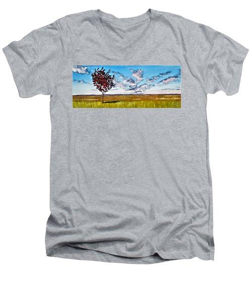 Lonely Autumn Tree Men's V-Neck T-Shirt