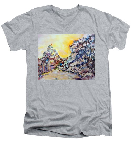 Lonely Flower Men's V-Neck T-Shirt by Mary Schiros
