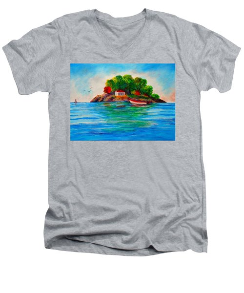 Lonely Island In Greece Men's V-Neck T-Shirt