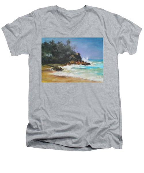 Men's V-Neck T-Shirt featuring the painting Lonely Sea by Rushan Ruzaick