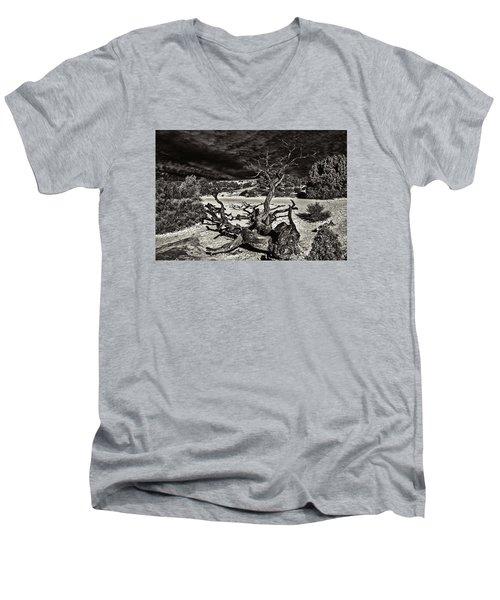 Lonely Tree #4  Men's V-Neck T-Shirt by Alex Galkin