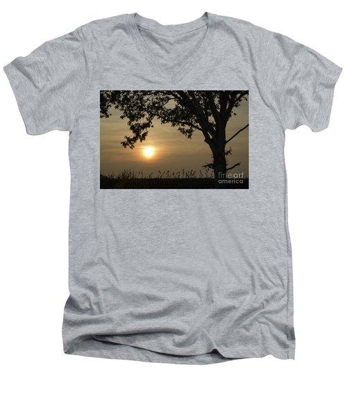 Lonely Tree At Sunset Men's V-Neck T-Shirt by Kennerth and Birgitta Kullman