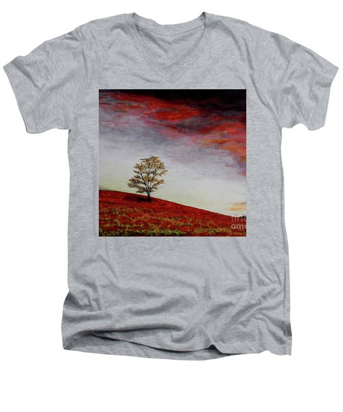 Men's V-Neck T-Shirt featuring the painting Lonely Tree by Judy Kirouac