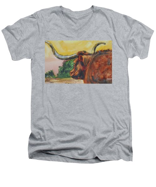 Lonesome Longhorn Men's V-Neck T-Shirt by Ron Stephens