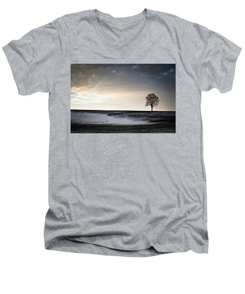 Men's V-Neck T-Shirt featuring the photograph Lonesome Tree On A Hill IIi by David Sutton