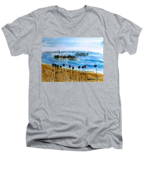 Long Beach Oil Islands Before Sunset Men's V-Neck T-Shirt by Debbie Lewis