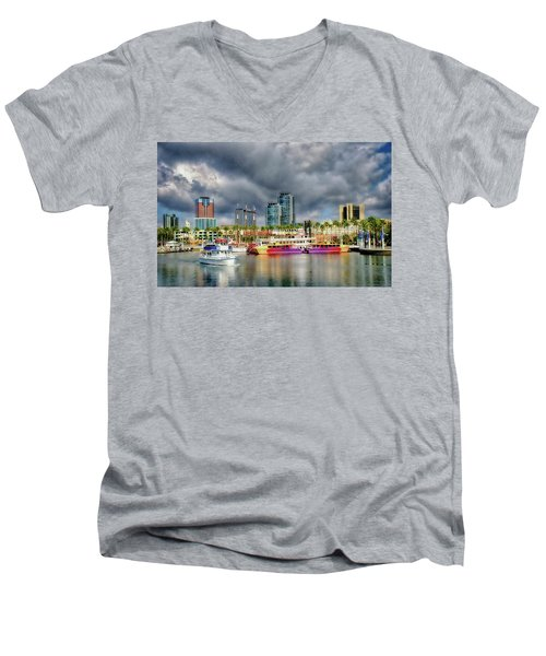 Long Beach Shoreline Marina Men's V-Neck T-Shirt by Joseph Hollingsworth