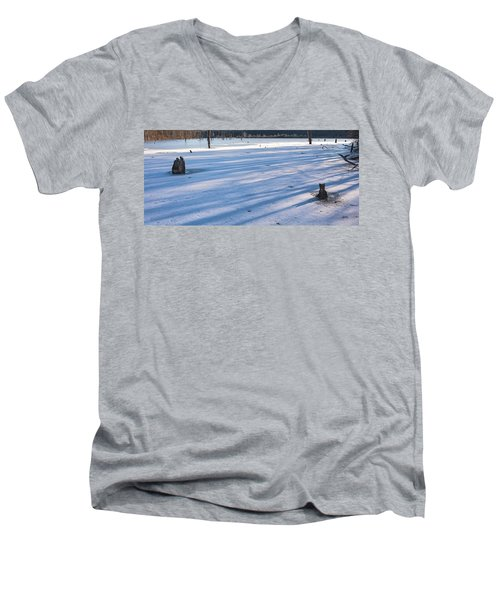 Long Blue Shadows Of Early Morning Men's V-Neck T-Shirt by Angelo Marcialis