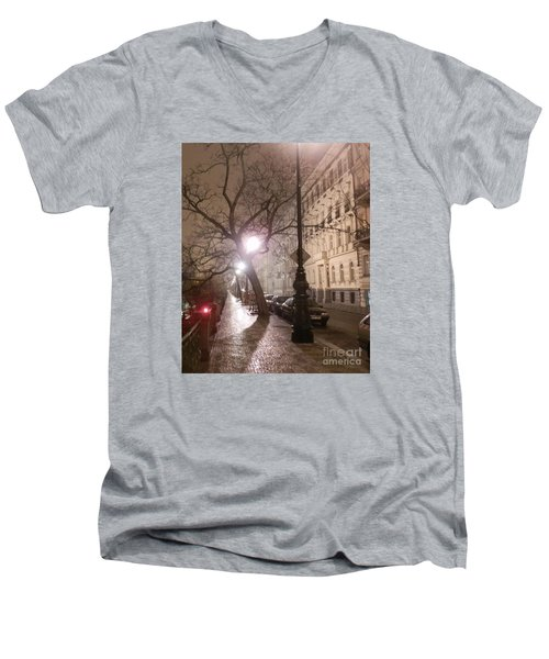 Long Cobblestone Street Of Prague Men's V-Neck T-Shirt by Margaret Brooks