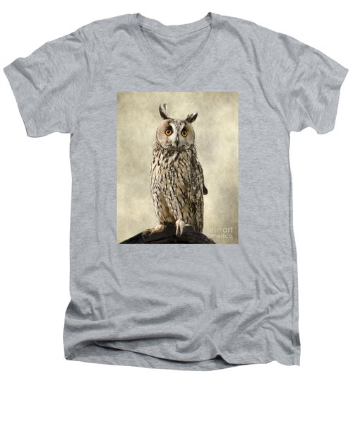 Long Eared Owl Men's V-Neck T-Shirt by Linsey Williams