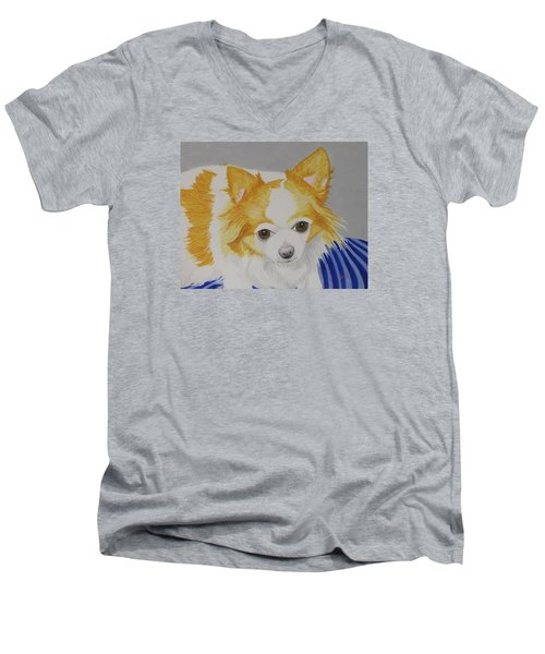 Long-haired Chihuahua Men's V-Neck T-Shirt by Hilda and Jose Garrancho