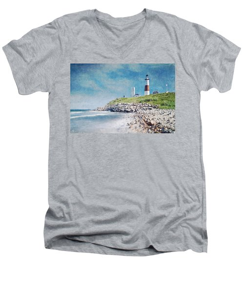 Long Island Lighthouse Men's V-Neck T-Shirt by Kai Saarto