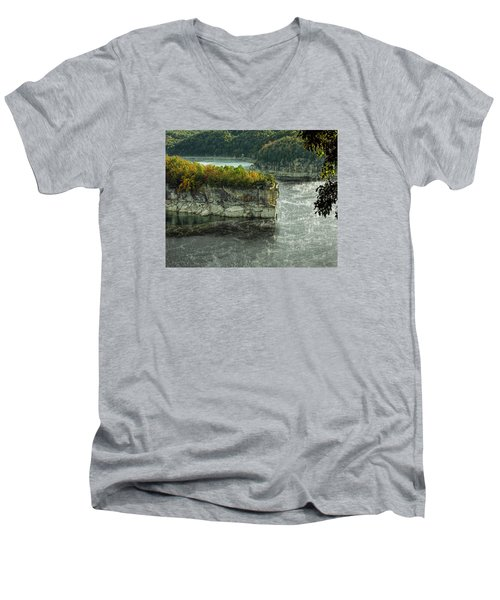 Men's V-Neck T-Shirt featuring the photograph Long Point Clff by Mark Allen