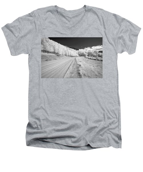 Men's V-Neck T-Shirt featuring the photograph Long Road In Colorado by Jon Glaser