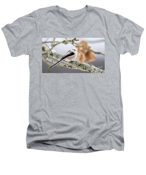 Men's V-Neck T-Shirt featuring the photograph Long-tailed Tit by Torbjorn Swenelius