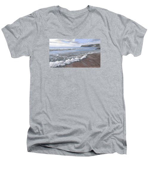 Men's V-Neck T-Shirt featuring the painting Long Waves At Trebarwith by Lawrence Dyer