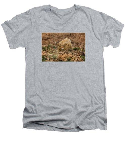 Longhorn On Dartmoor Men's V-Neck T-Shirt