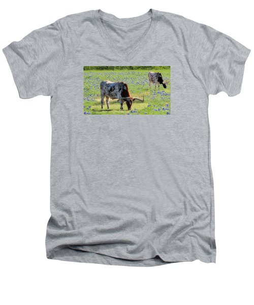 Longhorns In The Bluebonnets Men's V-Neck T-Shirt by Janette Boyd