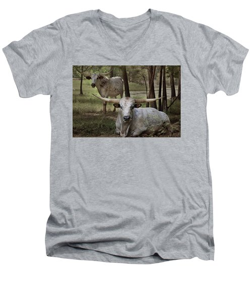 Longhorns On The Watch Men's V-Neck T-Shirt