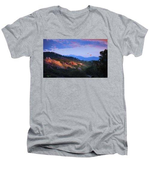 Longs Peak And Glowing Rocks Men's V-Neck T-Shirt