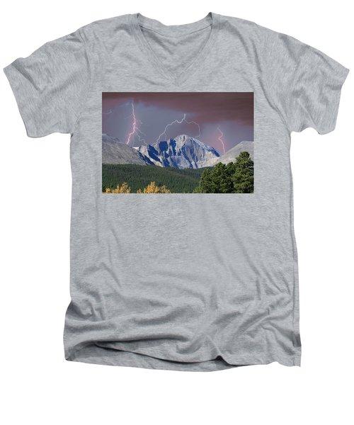 Longs Peak Lightning Storm Fine Art Photography Print Men's V-Neck T-Shirt