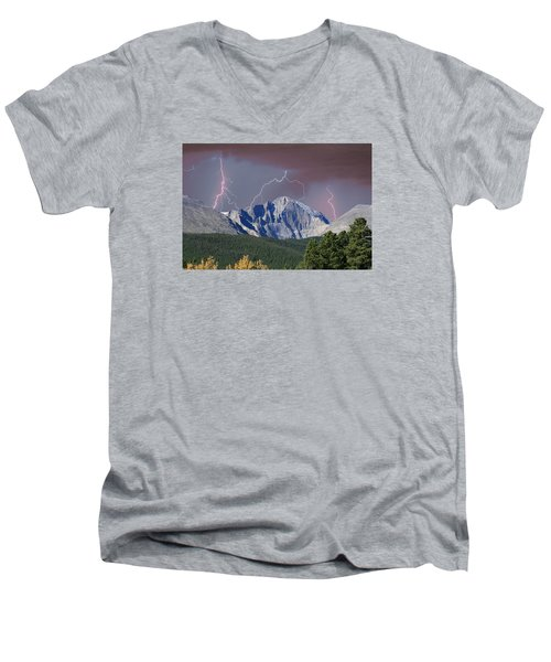 Longs Peak Lightning Storm Fine Art Photography Print Men's V-Neck T-Shirt