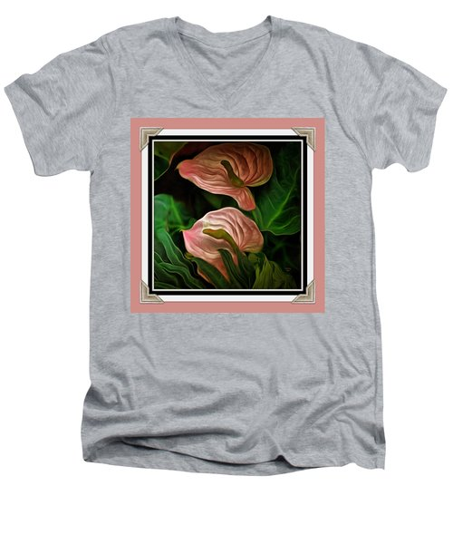 Men's V-Neck T-Shirt featuring the mixed media Longwood Lilies by Trish Tritz