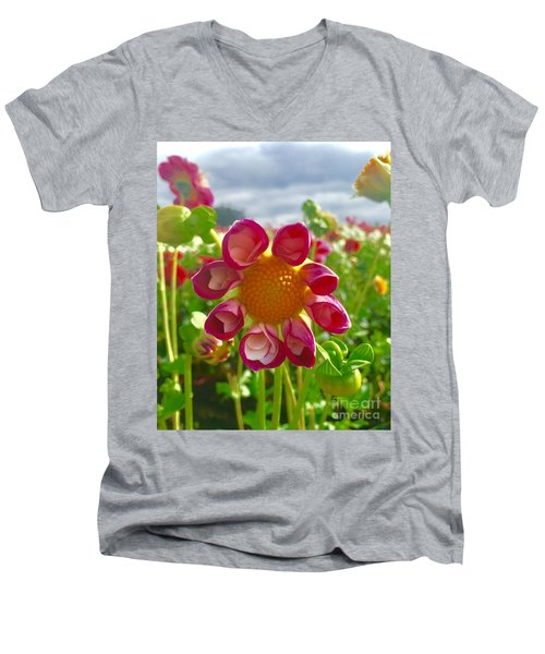 Look At Me Dahlia Men's V-Neck T-Shirt by Susan Garren