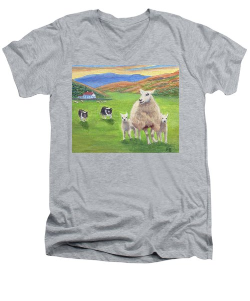 Men's V-Neck T-Shirt featuring the painting Look Back by Fran Brooks