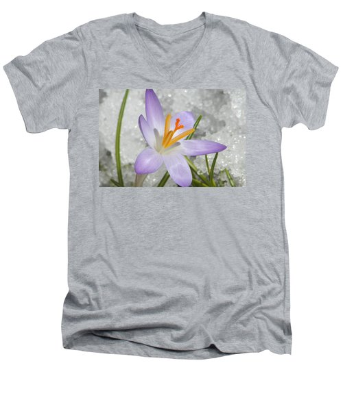Men's V-Neck T-Shirt featuring the digital art Look To The Sun by Barbara S Nickerson