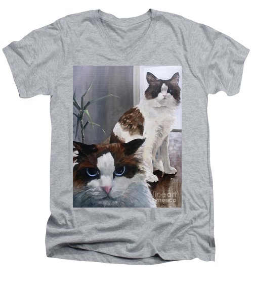 Men's V-Neck T-Shirt featuring the painting Look Who Is Grumpy Now by Diane Daigle