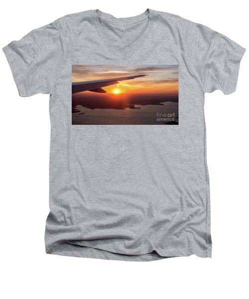 Looking At Sunset From Airplane Window With Lake In The Backgrou Men's V-Neck T-Shirt