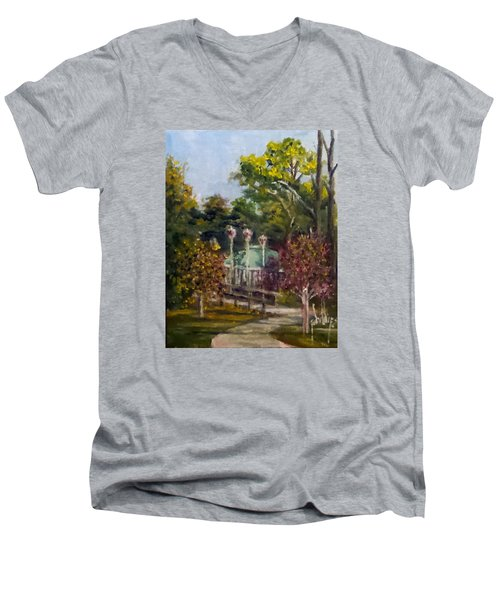 Men's V-Neck T-Shirt featuring the painting Looking Back At The Vietnam Memorial by Jim Phillips