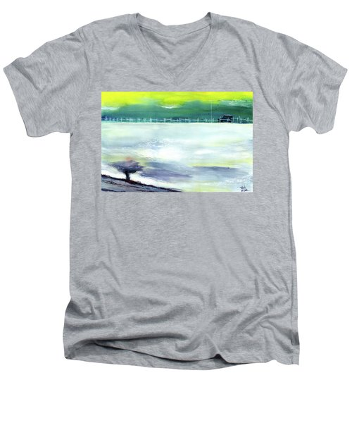 Men's V-Neck T-Shirt featuring the painting Looking Beyond by Anil Nene