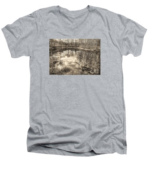 Looking Down Men's V-Neck T-Shirt by Betsy Zimmerli