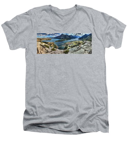 Looking Down On Waterton Lakes Men's V-Neck T-Shirt