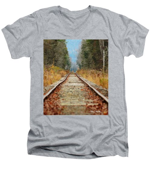 Looking Down The Tracks Men's V-Neck T-Shirt