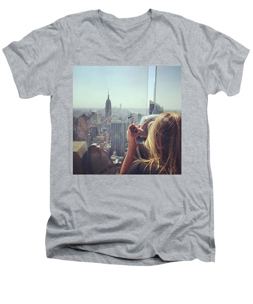 Looking Downtown In Style. #nyc Men's V-Neck T-Shirt by Missy Davis