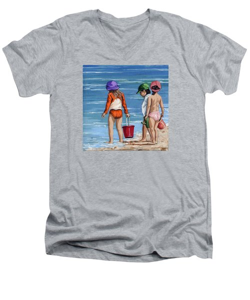 Looking For Seashells Children On The Beach Figurative Original Painting Men's V-Neck T-Shirt by Linda Apple