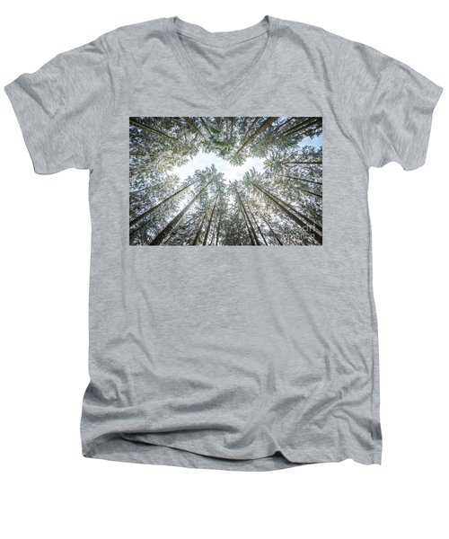 Men's V-Neck T-Shirt featuring the photograph Looking Up In The Forest by Hannes Cmarits
