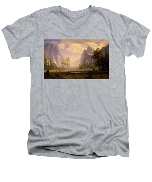 Looking Up The Yosemite Valley  Men's V-Neck T-Shirt